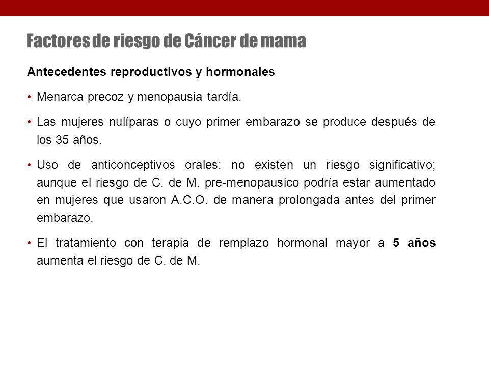 Factores de riesgo de Cáncer de mama Antecedentes reproductivos y hormonales Menarca precoz y menopausia tardía.