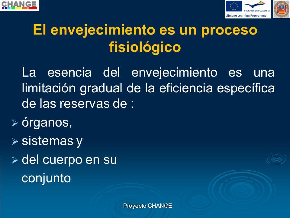 El envejecimiento es un proceso fisiológico La esencia del envejecimiento es una limitación gradual de la eficiencia específica de las reservas de : ó