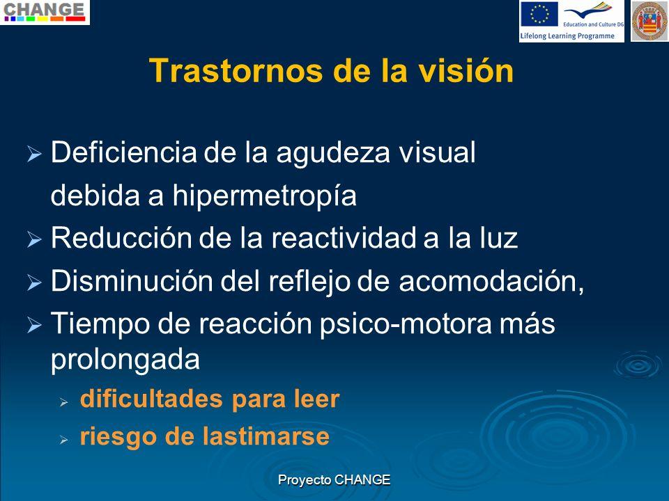 Trastornos de la visión Deficiencia de la agudeza visual debida a hipermetropía Reducción de la reactividad a la luz Disminución del reflejo de acomod