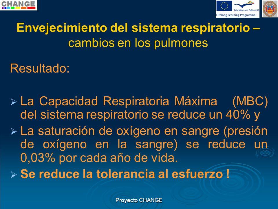 Envejecimiento del sistema respiratorio – cambios en los pulmones Resultado: La Capacidad Respiratoria Máxima (MBC) del sistema respiratorio se reduce