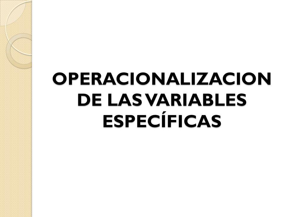 OPERACIONALIZACION DE LAS VARIABLES ESPECÍFICAS OPERACIONALIZACION DE LAS VARIABLES ESPECÍFICAS