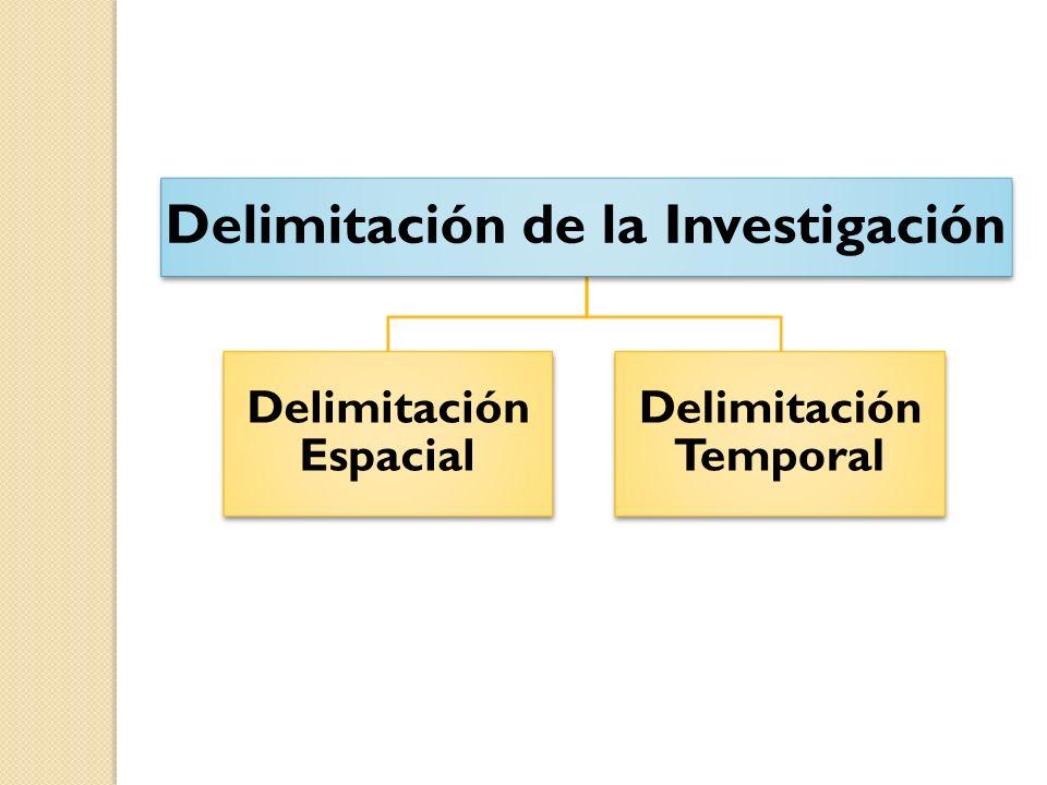 Delimitación de la Investigación Delimitación Espacial Delimitación Temporal