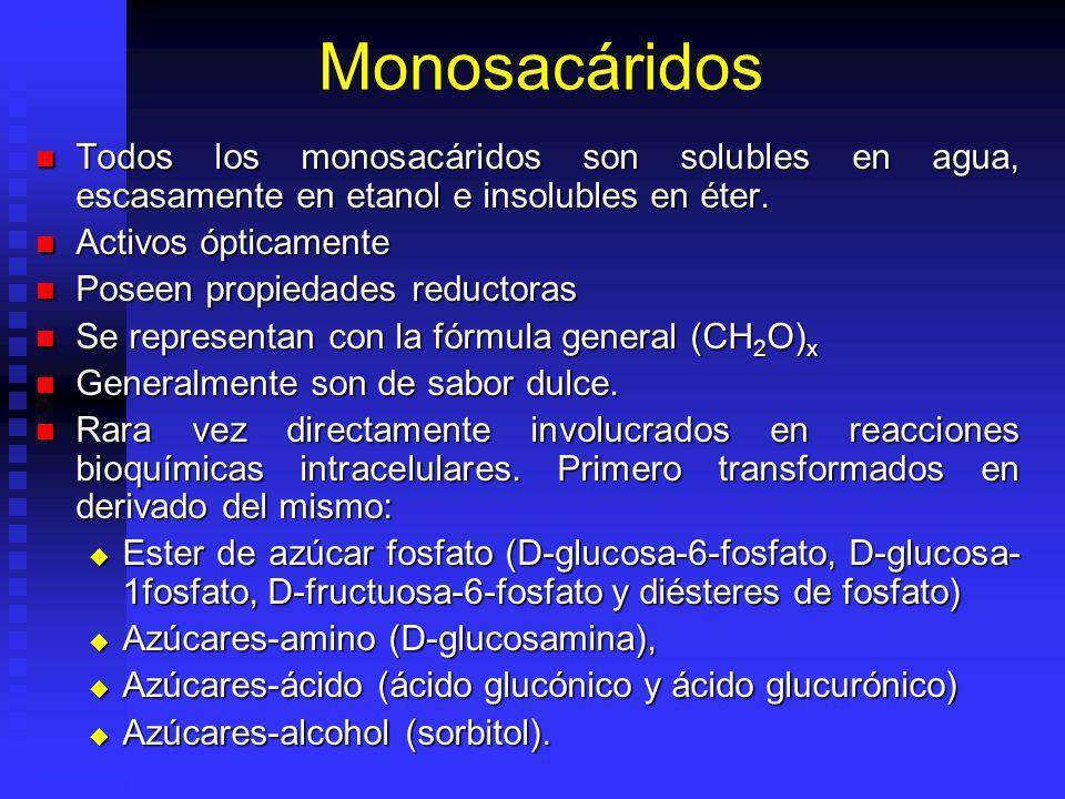 Monosacáridos Todos los monosacáridos son solubles en agua, escasamente en etanol e insolubles en éter. Todos los monosacáridos son solubles en agua,
