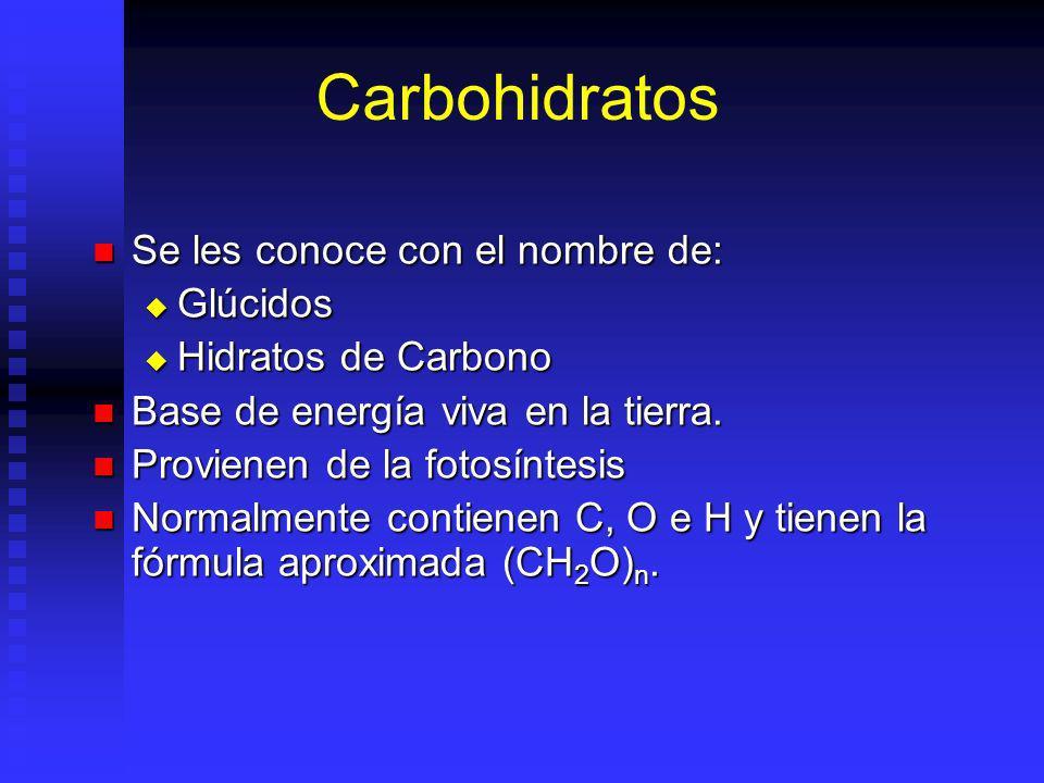 Se les conoce con el nombre de: Se les conoce con el nombre de: Glúcidos Glúcidos Hidratos de Carbono Hidratos de Carbono Base de energía viva en la t