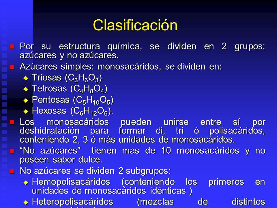 Clasificación Por su estructura química, se dividen en 2 grupos: azúcares y no azúcares. Por su estructura química, se dividen en 2 grupos: azúcares y