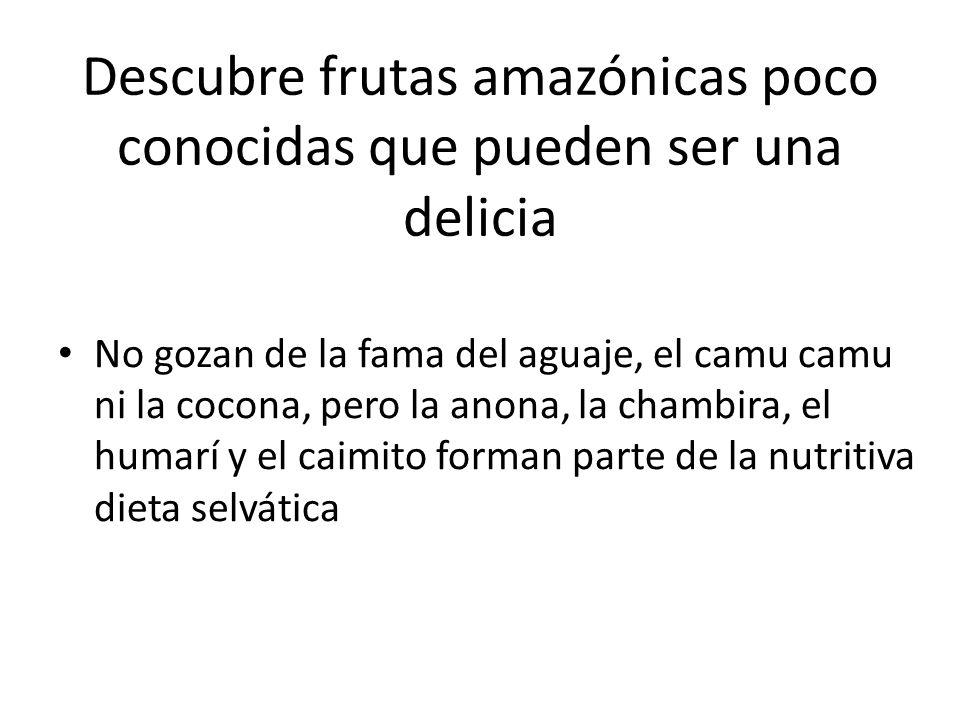 Descubre frutas amazónicas poco conocidas que pueden ser una delicia No gozan de la fama del aguaje, el camu camu ni la cocona, pero la anona, la cham