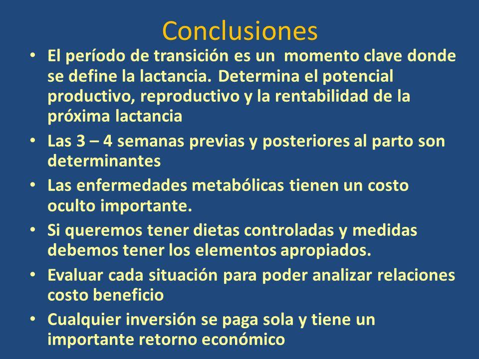 Conclusiones El período de transición es un momento clave donde se define la lactancia.