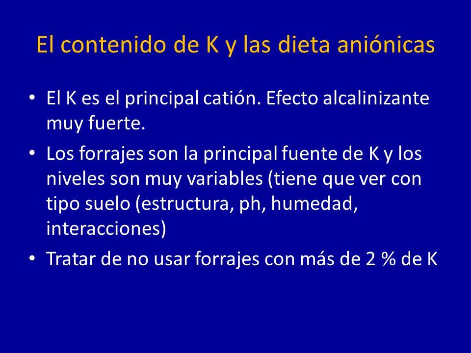 El contenido de K y las dieta aniónicas El K es el principal catión.