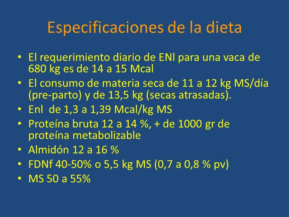 Especificaciones de la dieta El requerimiento diario de ENl para una vaca de 680 kg es de 14 a 15 Mcal El consumo de materia seca de 11 a 12 kg MS/día (pre-parto) y de 13,5 kg (secas atrasadas).