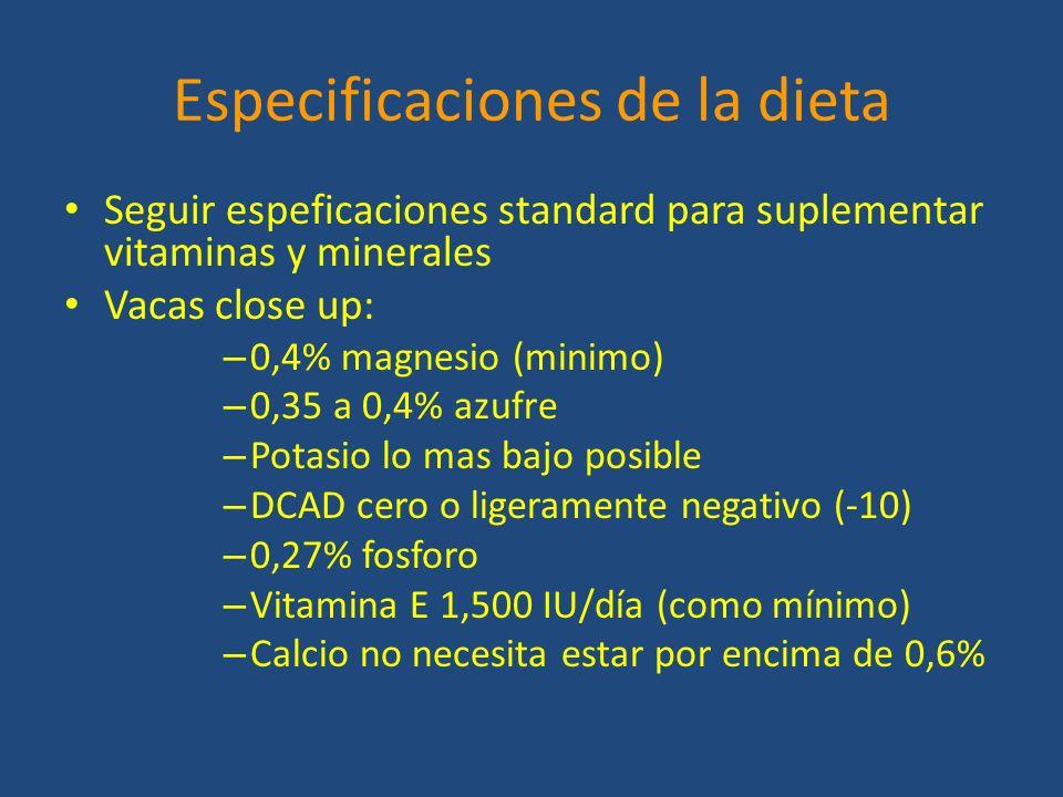 Especificaciones de la dieta Seguir espeficaciones standard para suplementar vitaminas y minerales Vacas close up: – 0,4% magnesio (minimo) – 0,35 a 0,4% azufre – Potasio lo mas bajo posible – DCAD cero o ligeramente negativo (-10) – 0,27% fosforo – Vitamina E 1,500 IU/día (como mínimo) – Calcio no necesita estar por encima de 0,6%