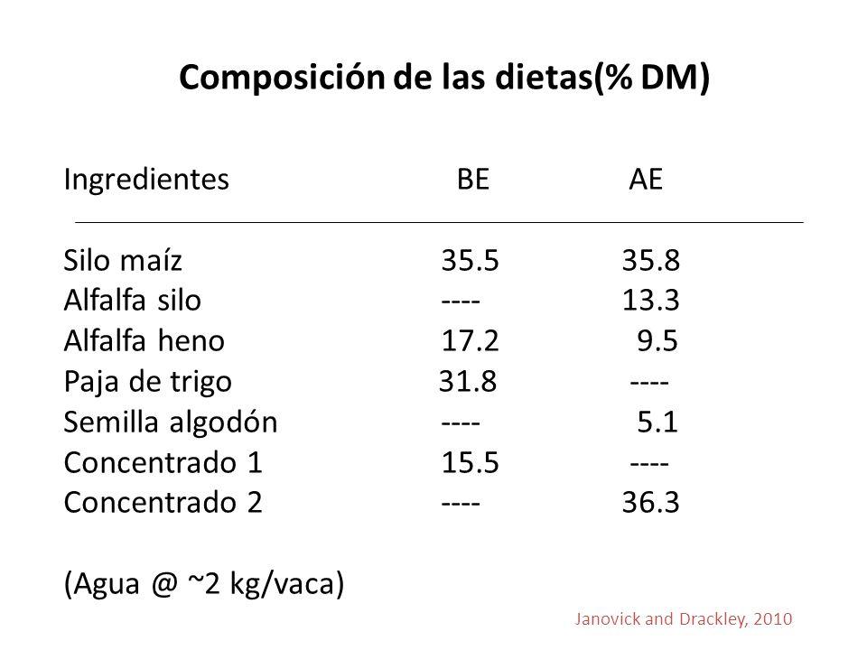 Composición de las dietas(% DM) Ingredientes BE AE Silo maíz 35.5 35.8 Alfalfa silo ---- 13.3 Alfalfa heno 17.2 9.5 Paja de trigo 31.8 ---- Semilla algodón ---- 5.1 Concentrado 1 15.5 ---- Concentrado 2 ---- 36.3 (Agua @ ~2 kg/vaca) Janovick and Drackley, 2010