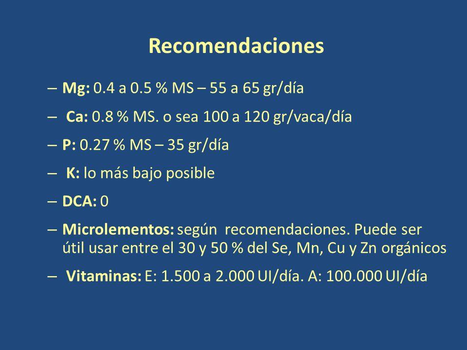 – Mg: 0.4 a 0.5 % MS – 55 a 65 gr/día – Ca: 0.8 % MS.