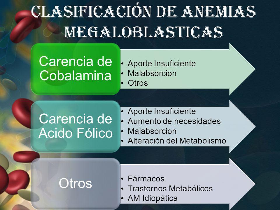 Clasificación de Anemias Megaloblasticas Aporte Insuficiente Malabsorcion Otros Carencia de Cobalamina Aporte Insuficiente Aumento de necesidades Mala
