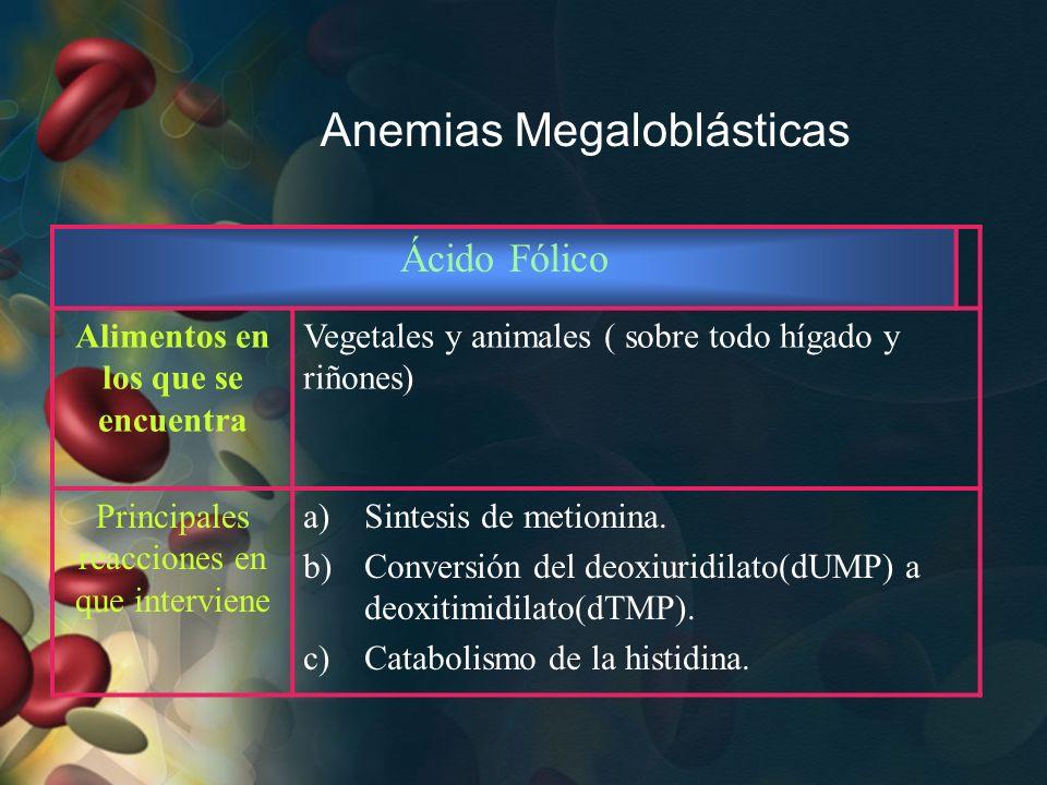 Anemias Megaloblásticas Ácido Fólico Alimentos en los que se encuentra Vegetales y animales ( sobre todo hígado y riñones) Principales reacciones en q