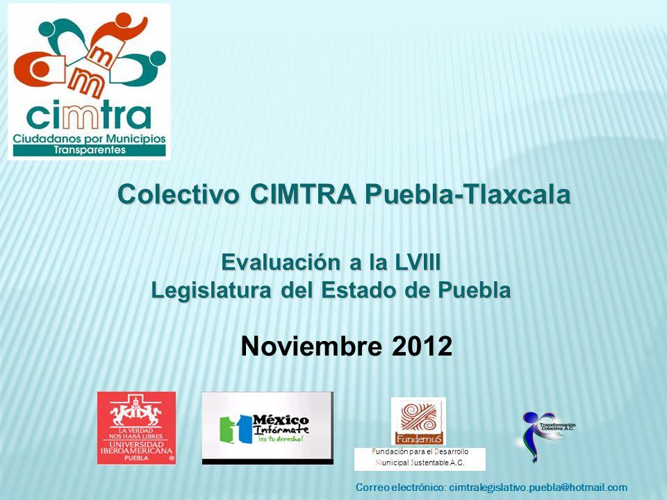 Correo electrónico: cimtralegislativo.puebla@hotmail.com F undación para el D esarrollo M unicipal S ustentable A.C. Colectivo CIMTRA Puebla-Tlaxcala