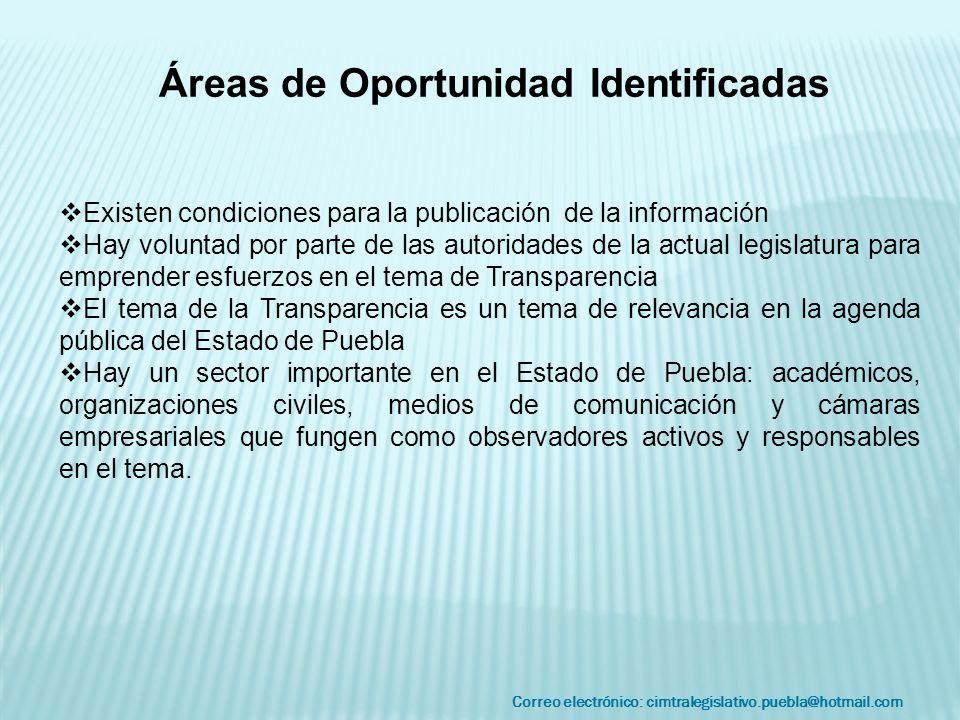 Correo electrónico: cimtralegislativo.puebla@hotmail.com Áreas de Oportunidad Identificadas Existen condiciones para la publicación de la información