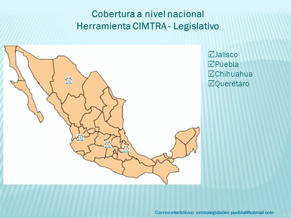 Correo electrónico: cimtralegislativo.puebla@hotmail.com Cobertura a nivel nacional Herramienta CIMTRA - Legislativo Jalisco Puebla Chihuahua Querétar