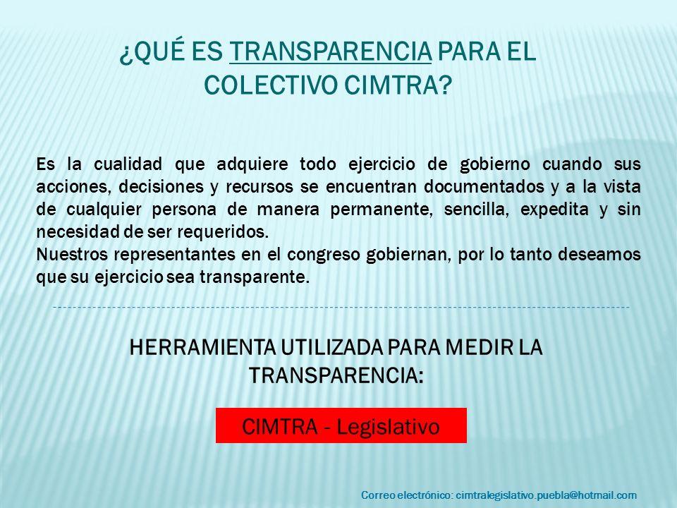 Correo electrónico: cimtralegislativo.puebla@hotmail.com Es la cualidad que adquiere todo ejercicio de gobierno cuando sus acciones, decisiones y recu