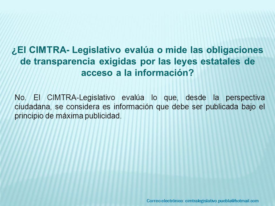 Correo electrónico: cimtralegislativo.puebla@hotmail.com No. El CIMTRA-Legislativo evalúa lo que, desde la perspectiva ciudadana, se considera es info