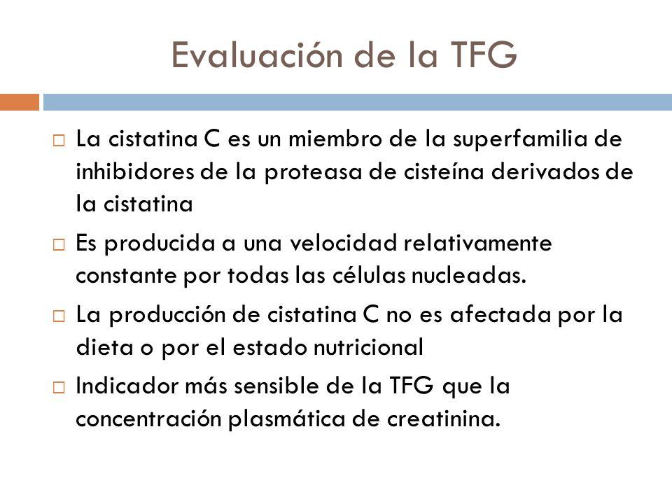 Evaluación de la TFG La cistatina C es un miembro de la superfamilia de inhibidores de la proteasa de cisteína derivados de la cistatina Es producida