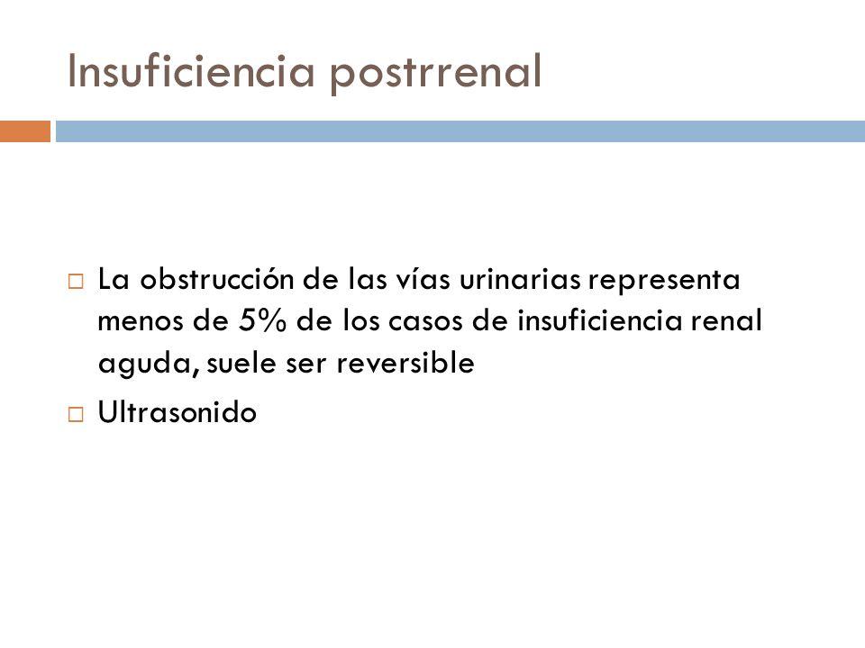 Insuficiencia postrrenal La obstrucción de las vías urinarias representa menos de 5% de los casos de insuficiencia renal aguda, suele ser reversible U