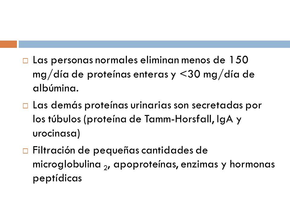 Las personas normales eliminan menos de 150 mg/día de proteínas enteras y <30 mg/día de albúmina. Las demás proteínas urinarias son secretadas por los