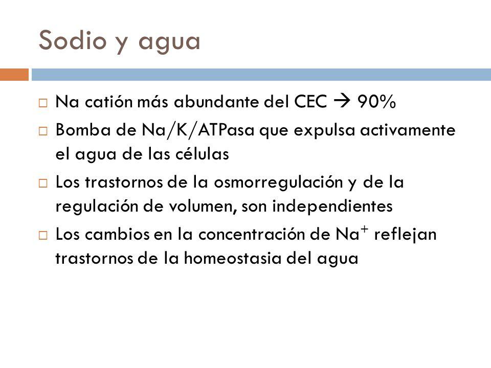 Sodio y agua Na catión más abundante del CEC 90% Bomba de Na/K/ATPasa que expulsa activamente el agua de las células Los trastornos de la osmorregulac