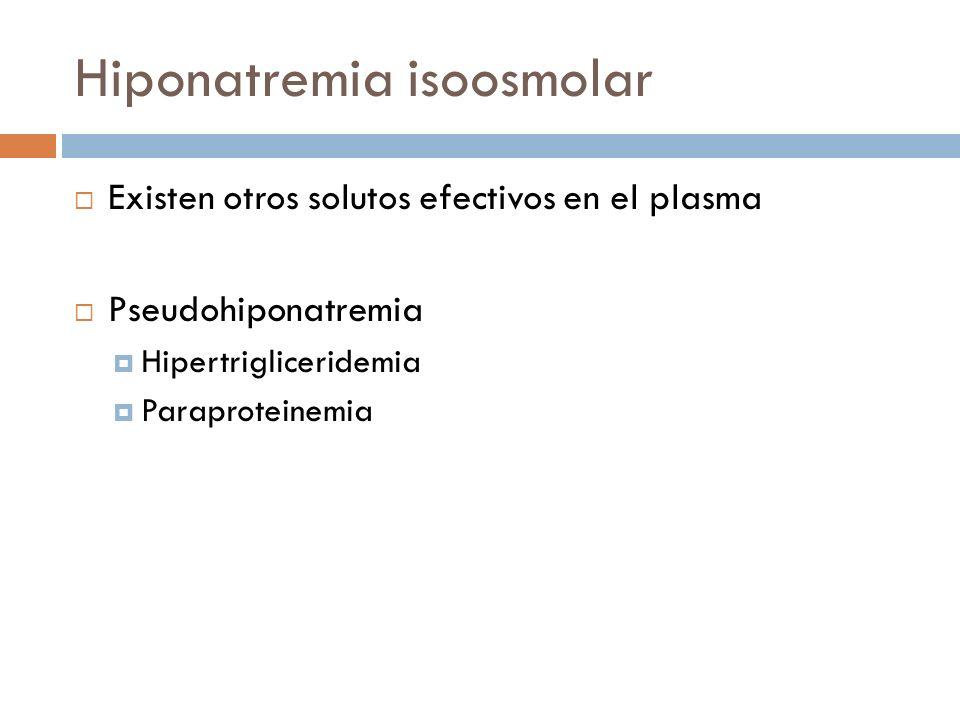 Hiponatremia isoosmolar Existen otros solutos efectivos en el plasma Pseudohiponatremia Hipertrigliceridemia Paraproteinemia Horacio J, Adrogué MD, Ni