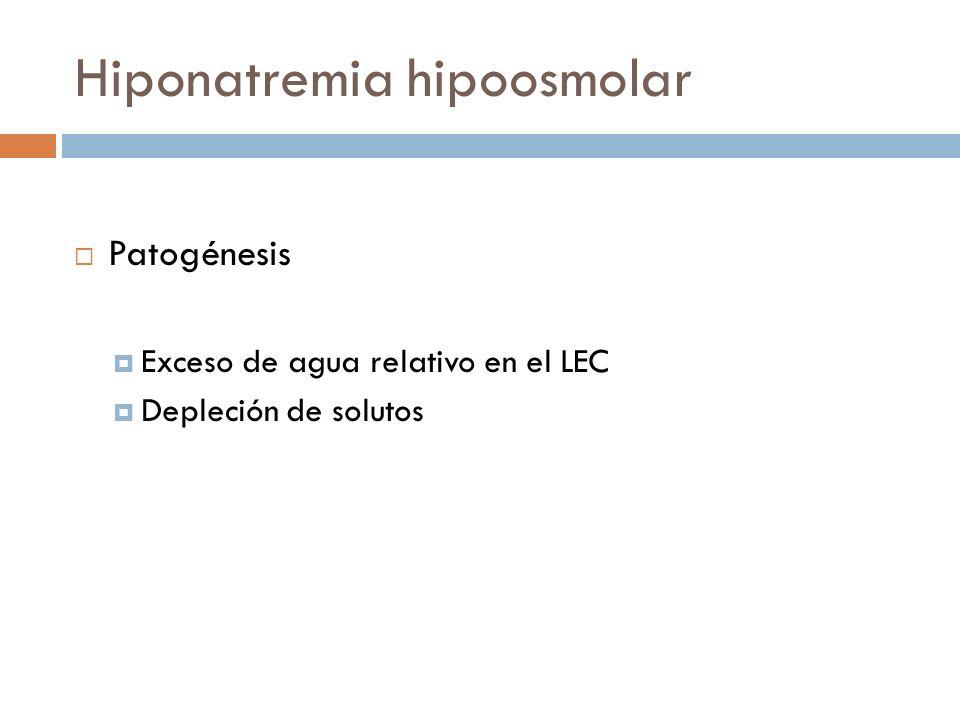 Hiponatremia hipoosmolar Patogénesis Exceso de agua relativo en el LEC Depleción de solutos Horacio J, Adrogué MD, Nicolaos E, Madias MD. Hyponatremia