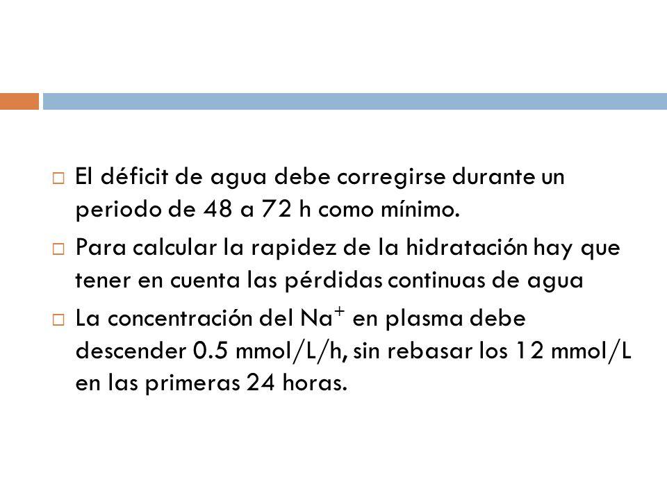 El déficit de agua debe corregirse durante un periodo de 48 a 72 h como mínimo. Para calcular la rapidez de la hidratación hay que tener en cuenta las