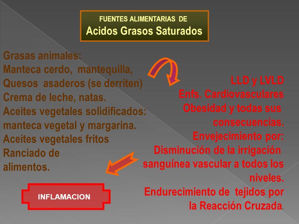 FUENTES ALIMENTARIAS DE Acidos Grasos Saturados Grasas animales: Manteca cerdo, mantequilla, Quesos asaderos (se derriten) Crema de leche, natas. Acei