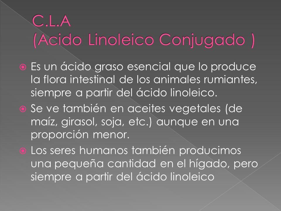 Es un ácido graso esencial que lo produce la flora intestinal de los animales rumiantes, siempre a partir del ácido linoleico. Se ve también en aceite