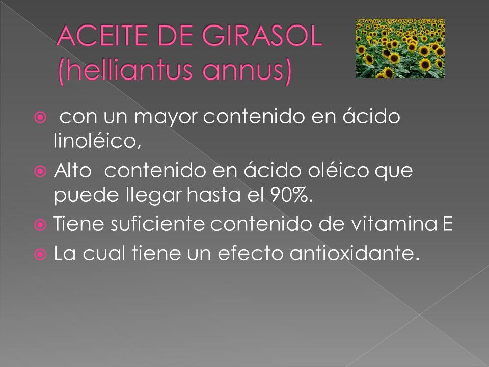 con un mayor contenido en ácido linoléico, Alto contenido en ácido oléico que puede llegar hasta el 90%. Tiene suficiente contenido de vitamina E La c