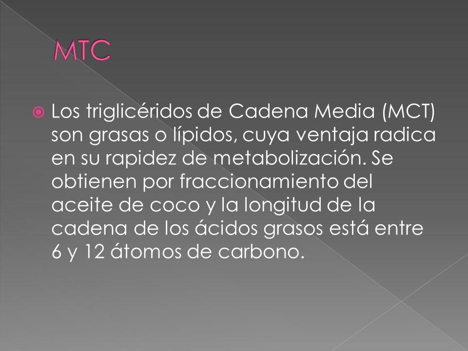 Los triglicéridos de Cadena Media (MCT) son grasas o lípidos, cuya ventaja radica en su rapidez de metabolización. Se obtienen por fraccionamiento del