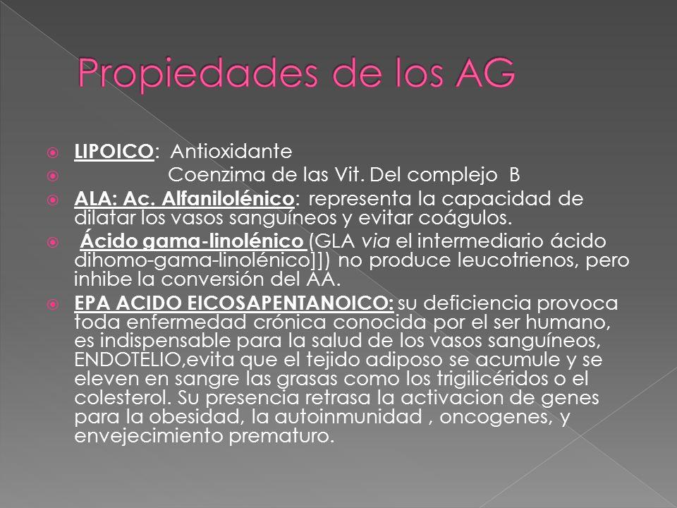 LIPOICO : Antioxidante Coenzima de las Vit. Del complejo B ALA: Ac. Alfanilolénico : representa la capacidad de dilatar los vasos sanguíneos y evitar
