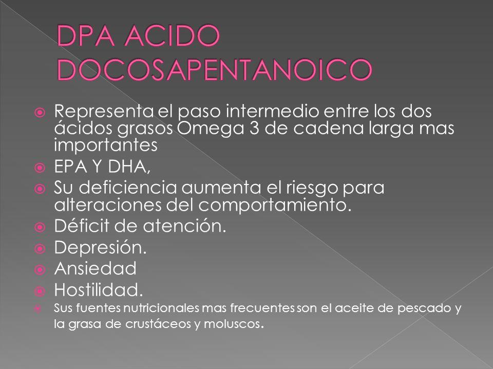 Representa el paso intermedio entre los dos ácidos grasos Omega 3 de cadena larga mas importantes EPA Y DHA, Su deficiencia aumenta el riesgo para alt