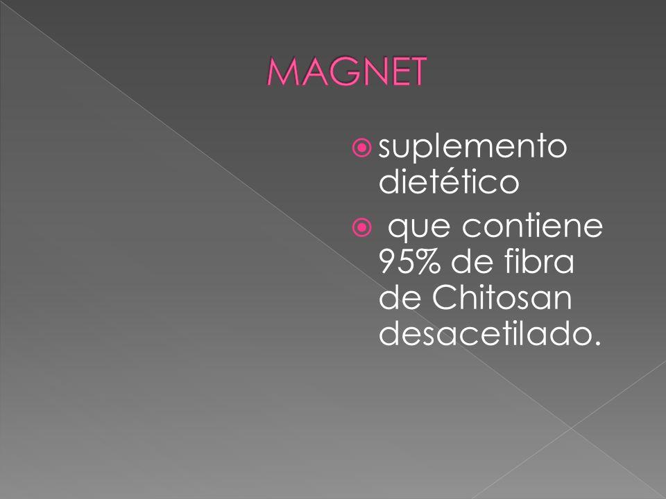 suplemento dietético que contiene 95% de fibra de Chitosan desacetilado.