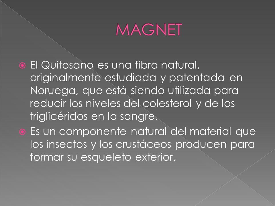 El Quitosano es una fibra natural, originalmente estudiada y patentada en Noruega, que está siendo utilizada para reducir los niveles del colesterol y