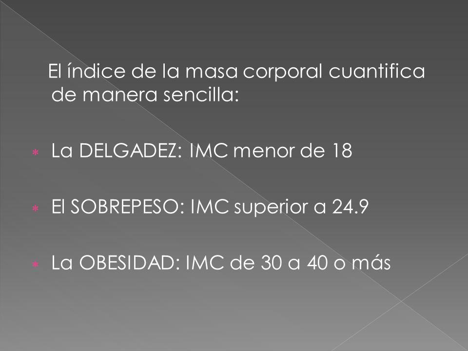 El índice de la masa corporal cuantifica de manera sencilla: La DELGADEZ: IMC menor de 18 El SOBREPESO: IMC superior a 24.9 La OBESIDAD: IMC de 30 a 4