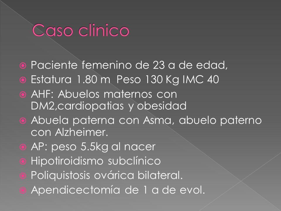 Paciente femenino de 23 a de edad, Estatura 1.80 m Peso 130 Kg IMC 40 AHF: Abuelos maternos con DM2,cardiopatias y obesidad Abuela paterna con Asma, a