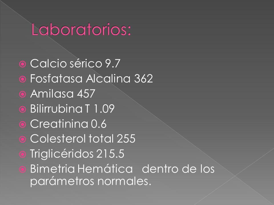 Calcio sérico 9.7 Fosfatasa Alcalina 362 Amilasa 457 Bilirrubina T 1.09 Creatinina 0.6 Colesterol total 255 Triglicéridos 215.5 Bimetria Hemática dent