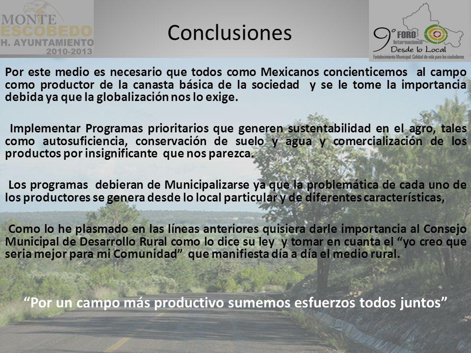 Por este medio es necesario que todos como Mexicanos concienticemos al campo como productor de la canasta básica de la sociedad y se le tome la importancia debida ya que la globalización nos lo exige.
