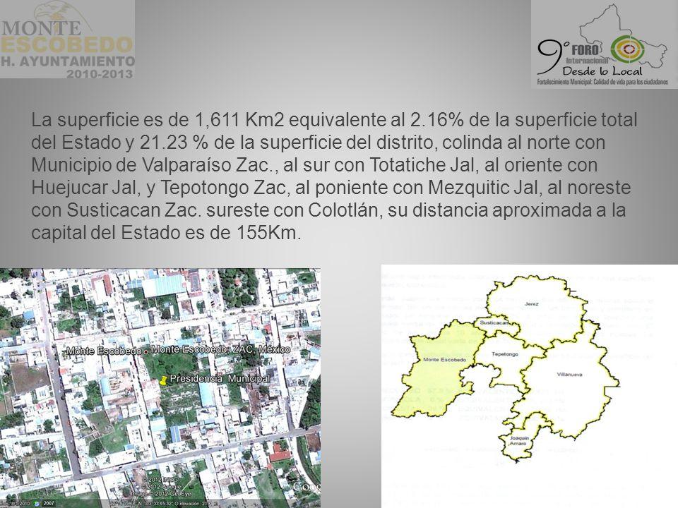 La superficie es de 1,611 Km2 equivalente al 2.16% de la superficie total del Estado y 21.23 % de la superficie del distrito, colinda al norte con Municipio de Valparaíso Zac., al sur con Totatiche Jal, al oriente con Huejucar Jal, y Tepotongo Zac, al poniente con Mezquitic Jal, al noreste con Susticacan Zac.