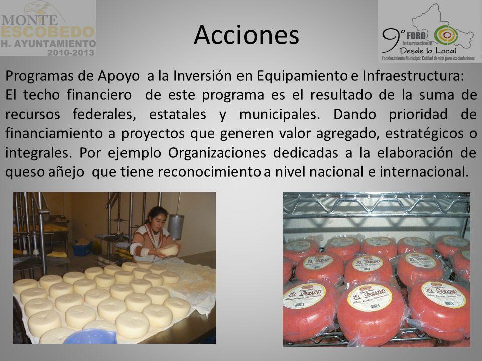 Acciones Programas de Apoyo a la Inversión en Equipamiento e Infraestructura: El techo financiero de este programa es el resultado de la suma de recursos federales, estatales y municipales.
