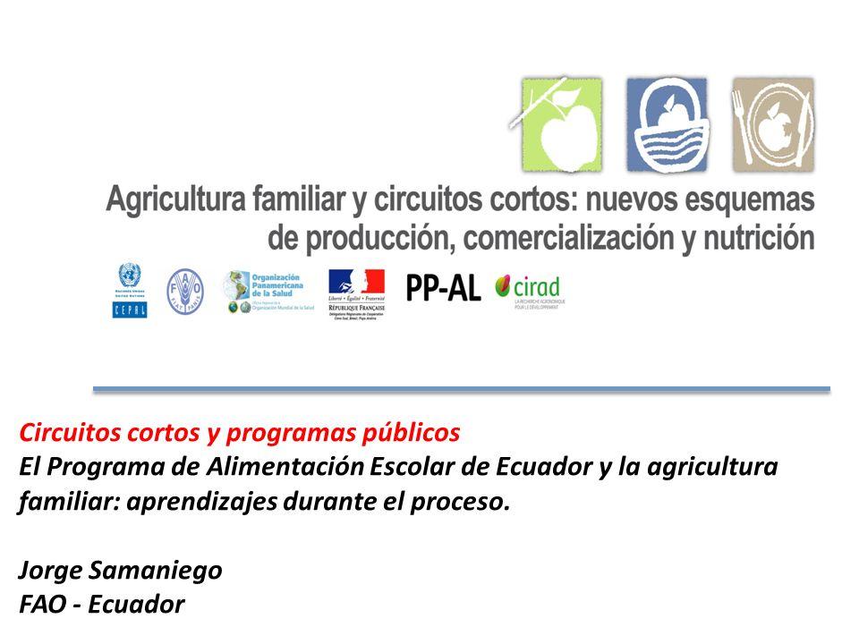 Circuitos cortos y programas públicos El Programa de Alimentación Escolar de Ecuador y la agricultura familiar: aprendizajes durante el proceso.