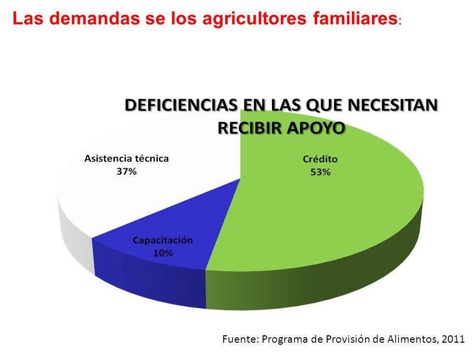 Las demandas se los agricultores familiares : Fuente: Programa de Provisión de Alimentos, 2011