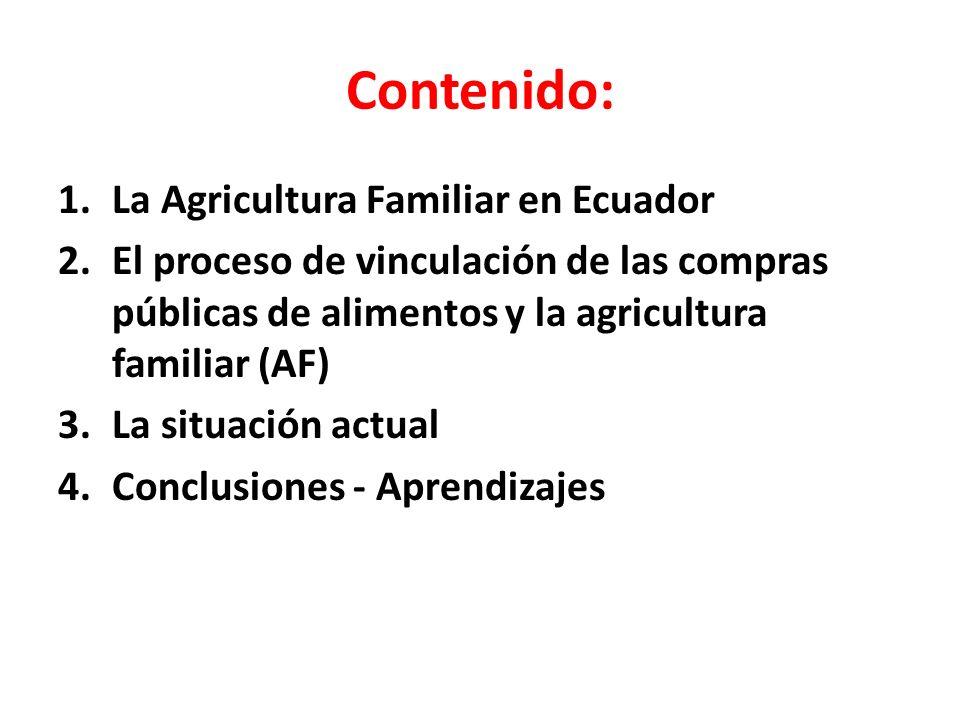 Contenido: 1.La Agricultura Familiar en Ecuador 2.El proceso de vinculación de las compras públicas de alimentos y la agricultura familiar (AF) 3.La situación actual 4.Conclusiones - Aprendizajes