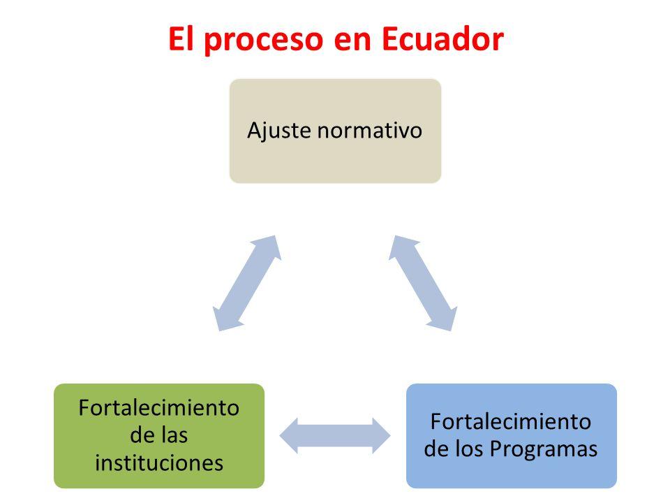 El proceso en Ecuador Ajuste normativo Fortalecimiento de los Programas Fortalecimiento de las instituciones