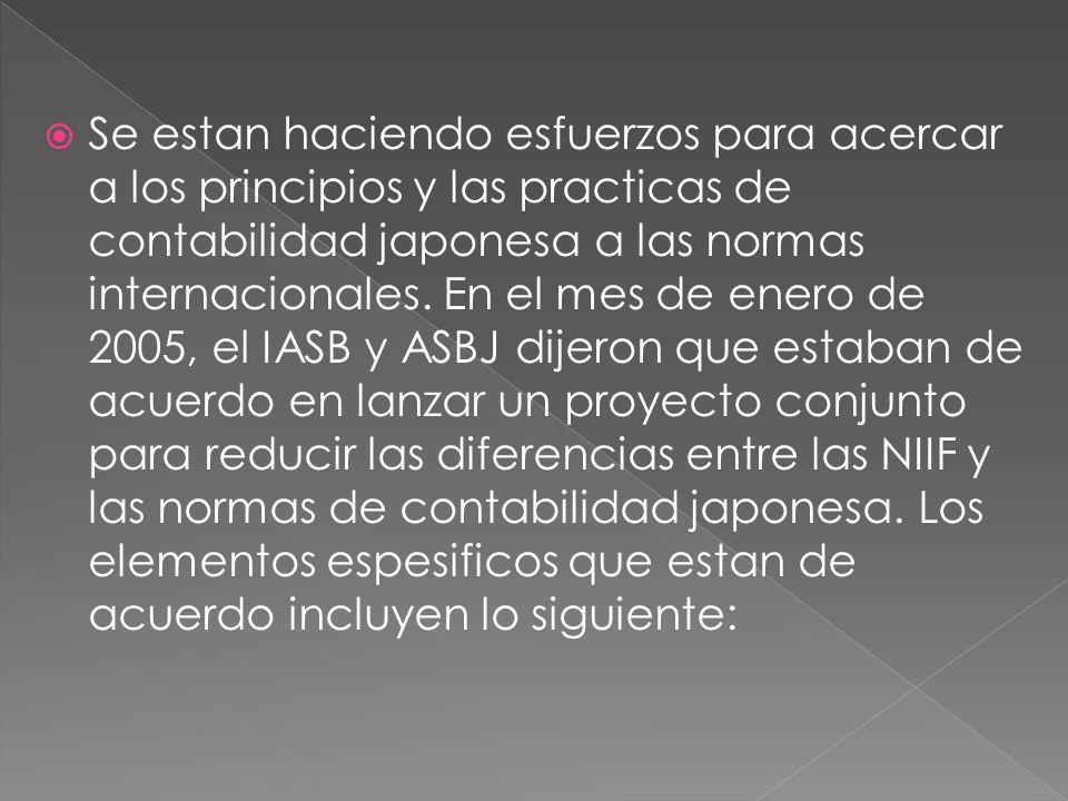 Se estan haciendo esfuerzos para acercar a los principios y las practicas de contabilidad japonesa a las normas internacionales.