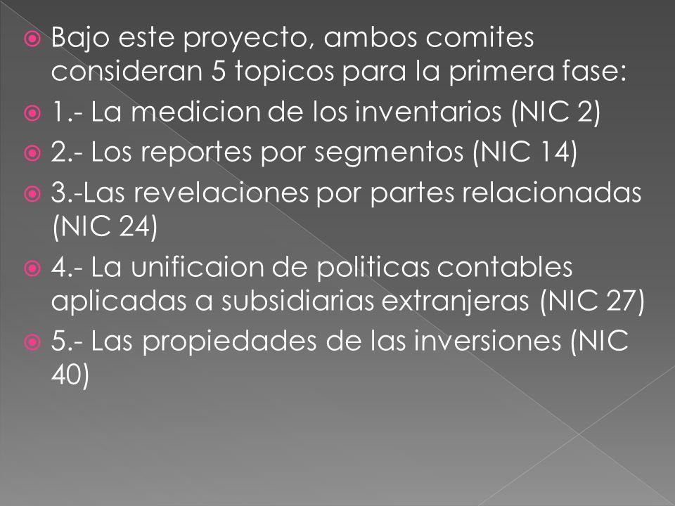 Bajo este proyecto, ambos comites consideran 5 topicos para la primera fase: 1.- La medicion de los inventarios (NIC 2) 2.- Los reportes por segmentos (NIC 14) 3.-Las revelaciones por partes relacionadas (NIC 24) 4.- La unificaion de politicas contables aplicadas a subsidiarias extranjeras (NIC 27) 5.- Las propiedades de las inversiones (NIC 40)